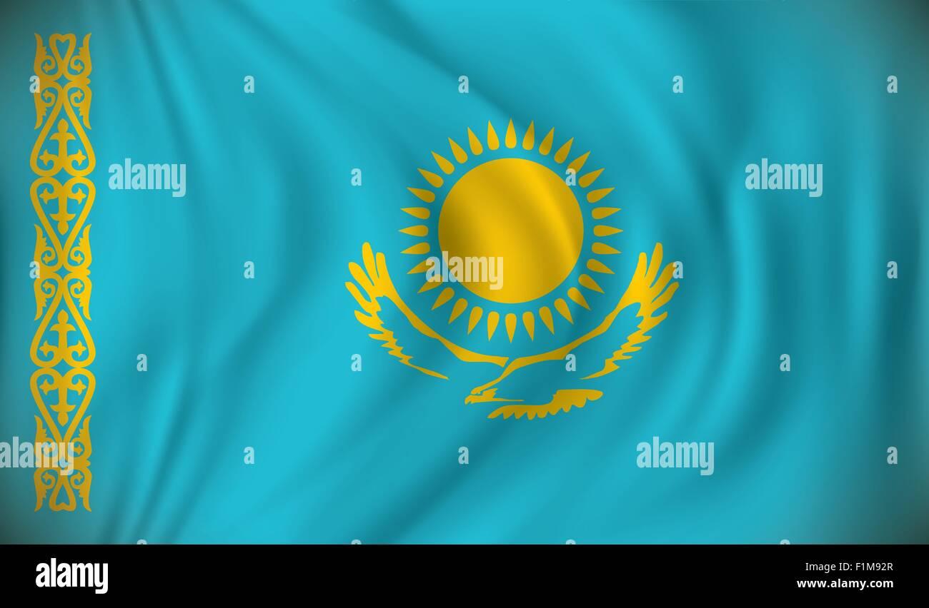 Flag of Kazakhstan - vector illustration - Stock Image