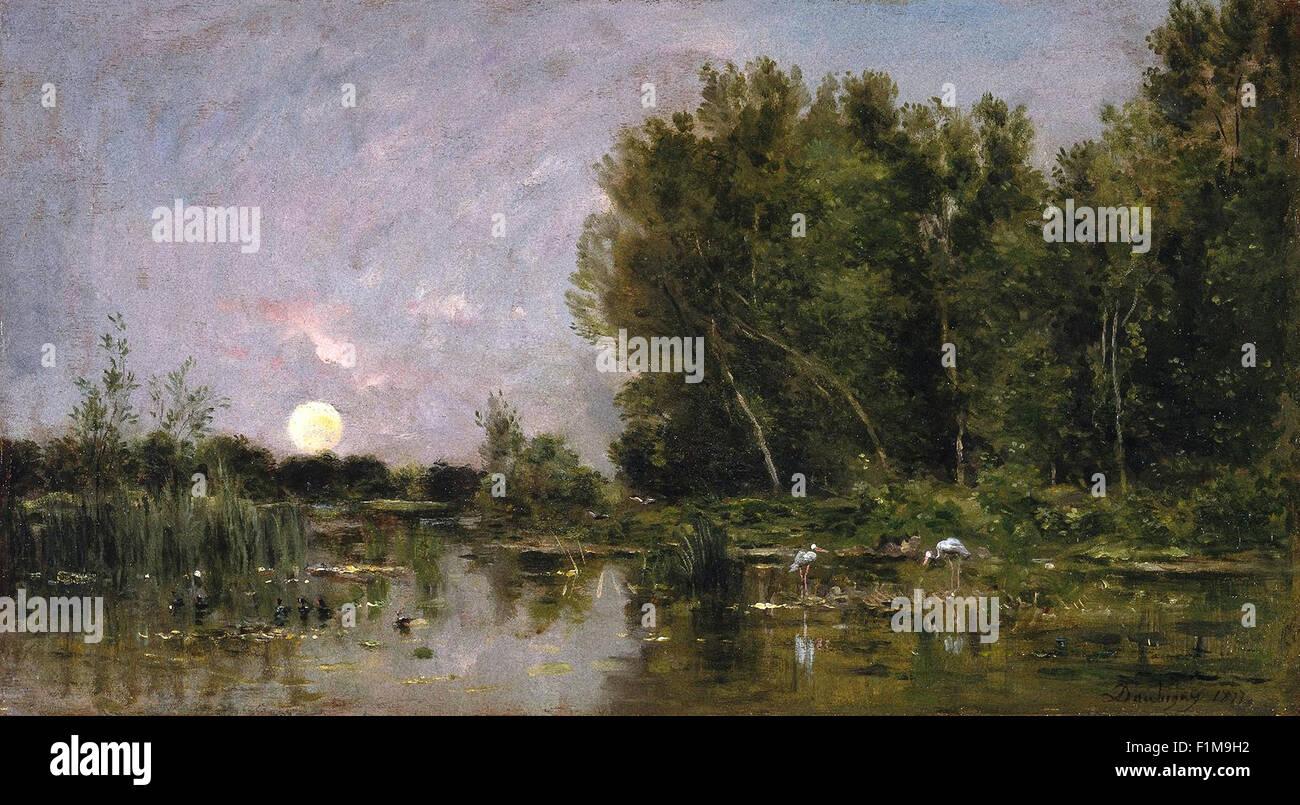 Charles-François Daubigny - Moonrise - Stock Image