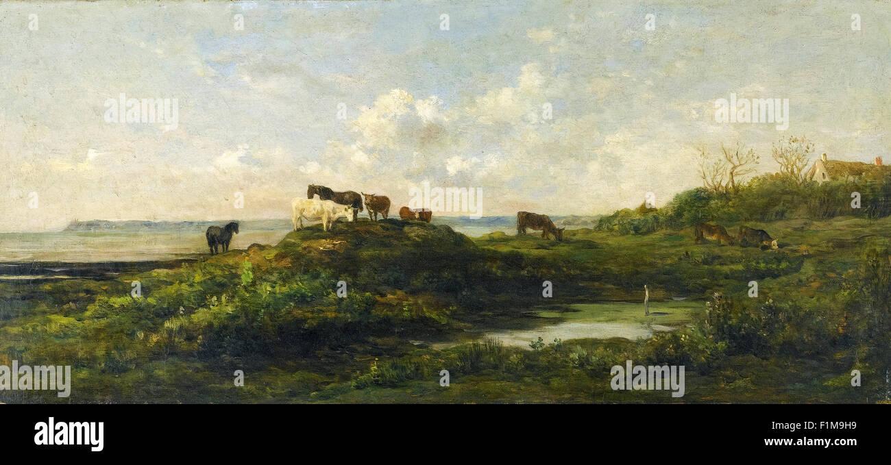 Charles-François Daubigny - Vaches au Bord de la Mare  aux Hauteurs de Villerville - Stock Image