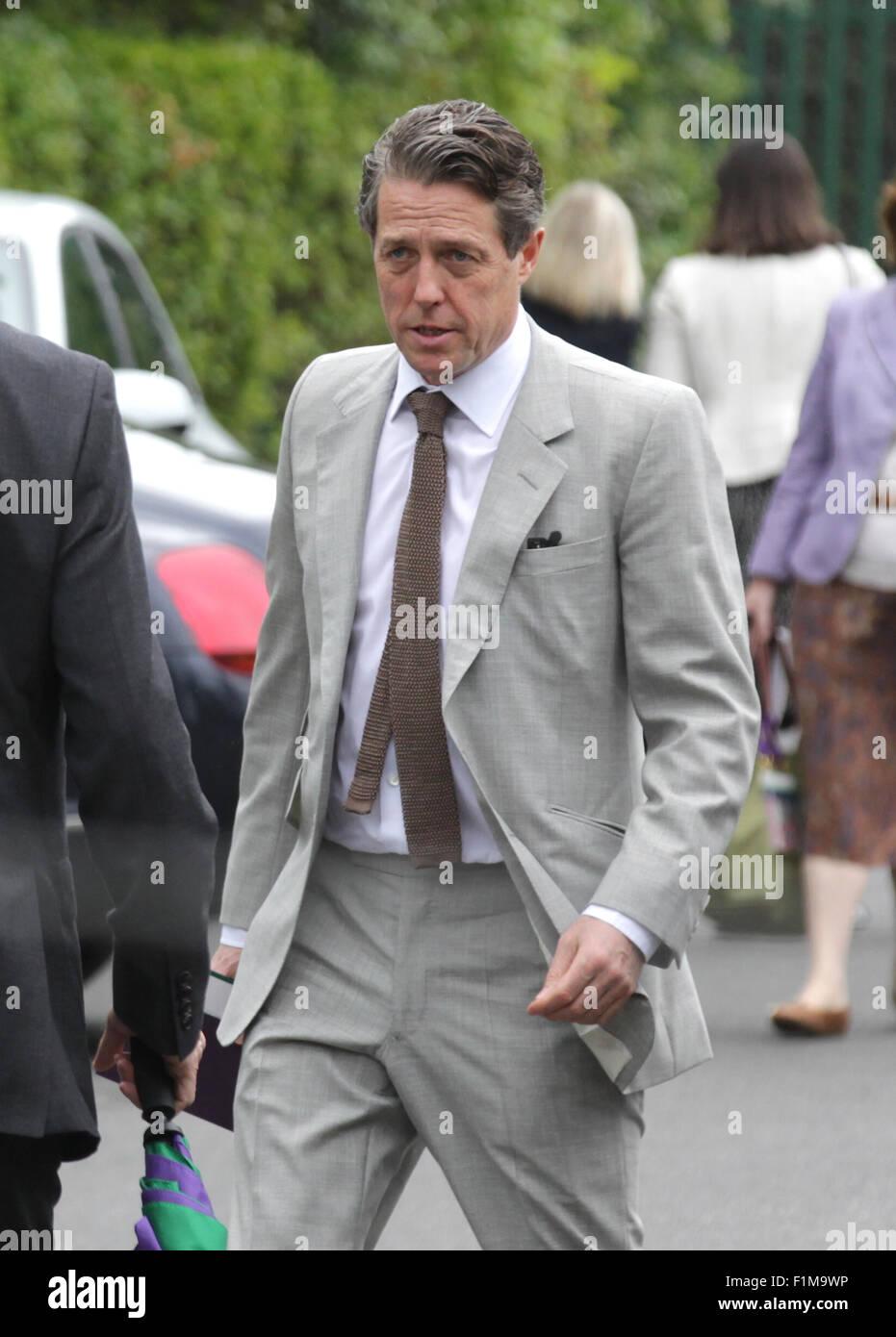 LONDON, UK, 12th July 2015: Hugh Grant seen at Wimbledon Championships 2015 - Stock Image