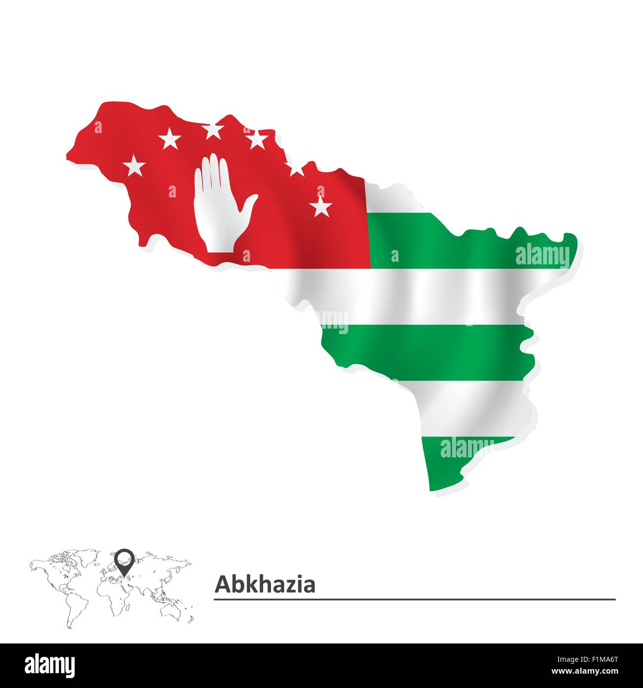 Map of Abkhazia with flag - vector illustration - Stock Image