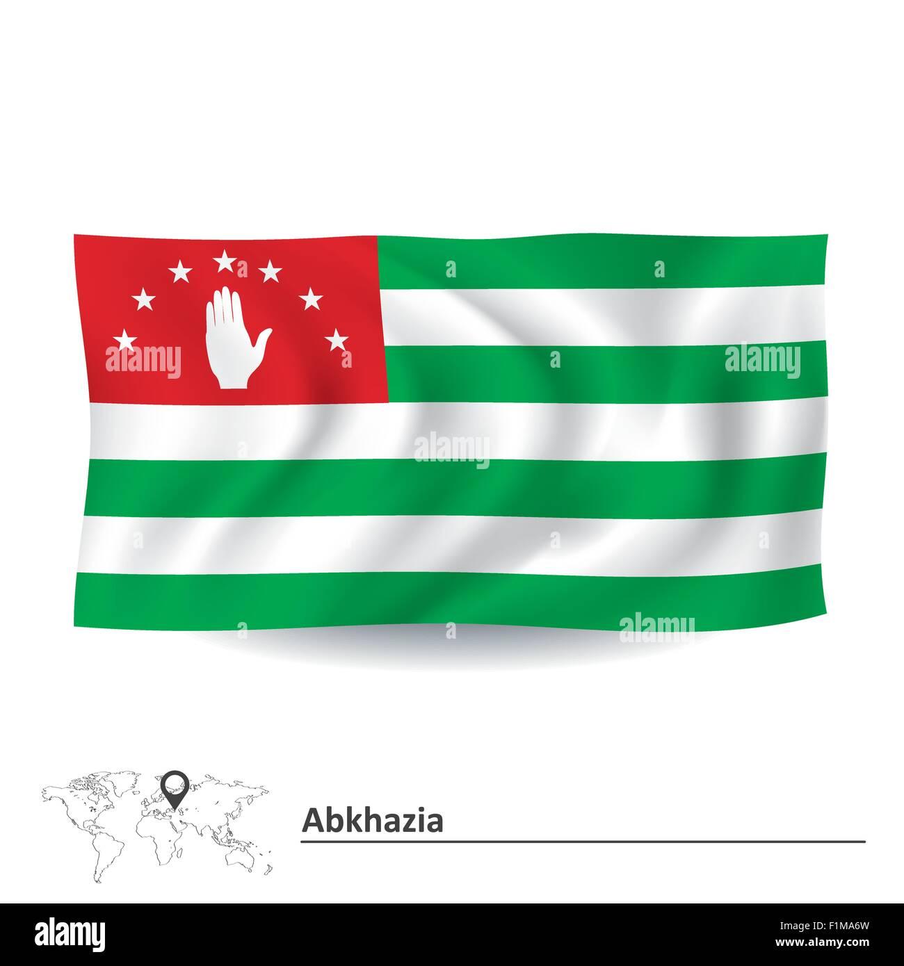 Flag of Abkhazia - vector illustration - Stock Image