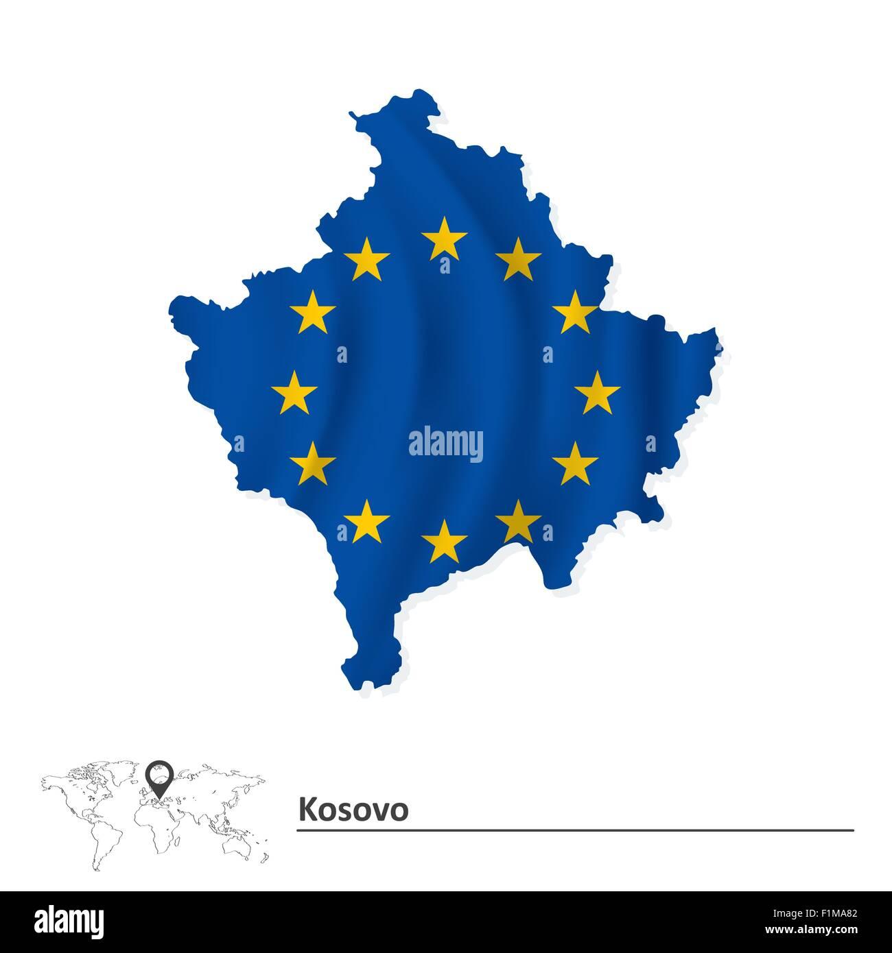 Map Of Kosovo With European Union Flag Vector Illustration Stock