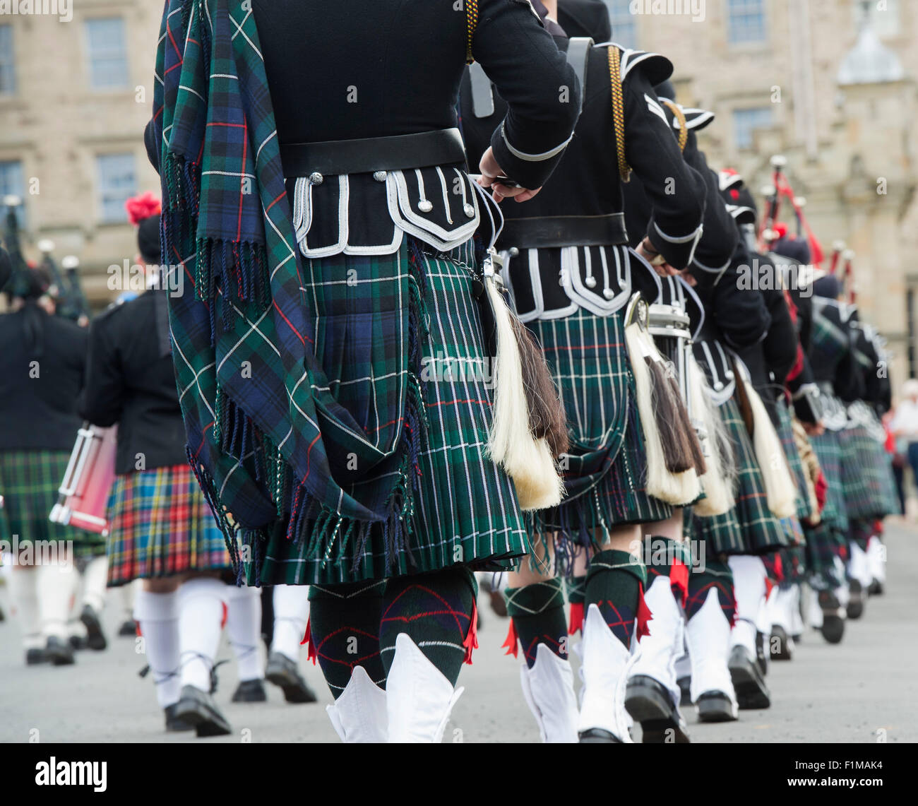 Massed Pipe bands at Floors castle. Kelso, Scotland - Stock Image