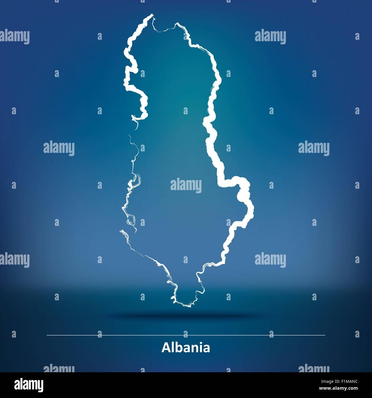 Doodle Map of Albania - vector illustration - Stock Vector