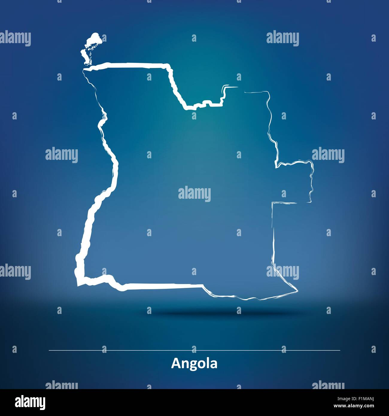 Doodle Map of Angola - vector illustration Stock Vector