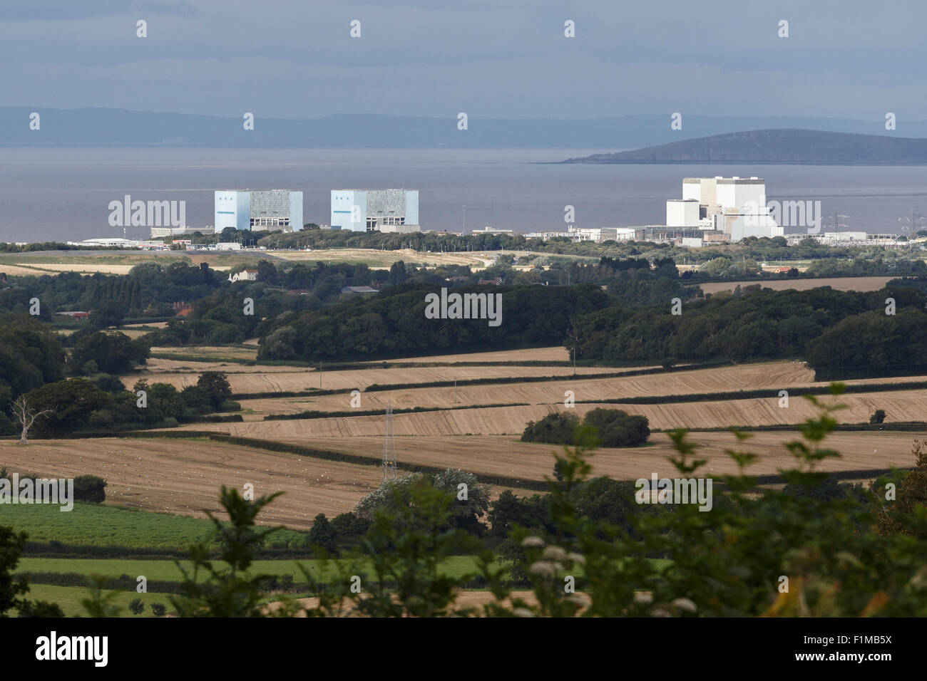 Hinkely Point nuclear power plant. A station to the left, B station to the right. Viewed from the Quantock Hills. Stock Photo