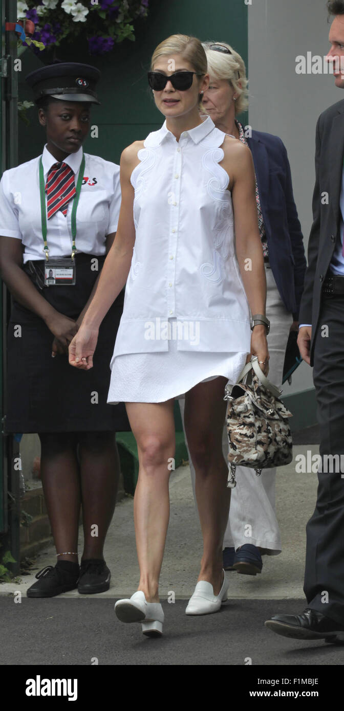 LONDON, UK, 11th July 2015: Rosamund Pike seen at Wimbledon Championships 2015 - Stock Image