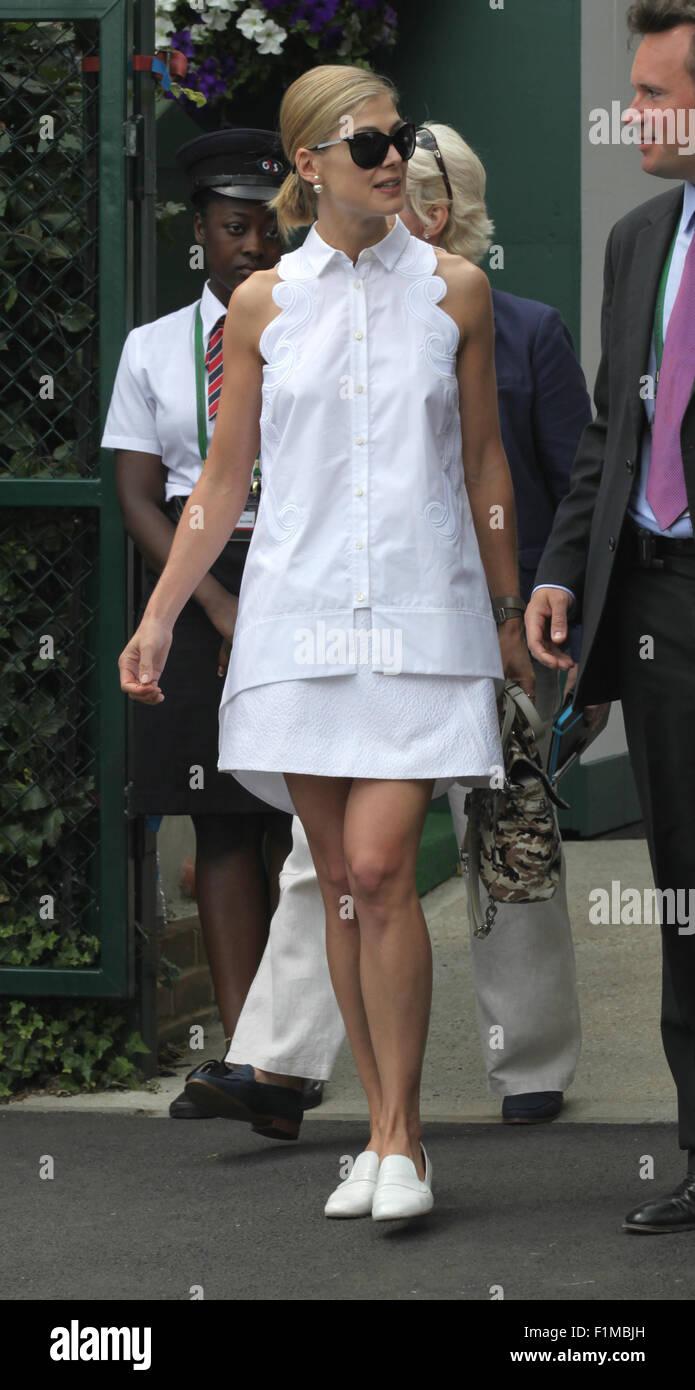 LONDON, UK, 11th July 2015: Rosamund Pike seen at Wimbledon Championships 2015 - Stock Image