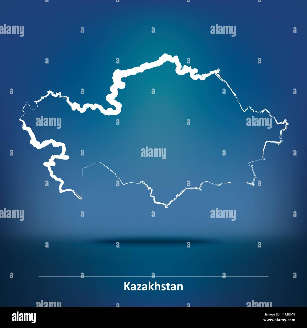 Doodle Map of Kazakhstan - vector illustration - Stock Image