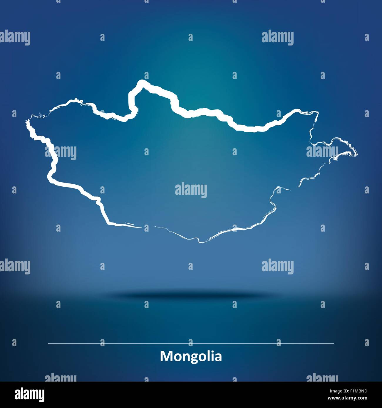 Doodle Map of Mongolia - vector illustration - Stock Vector