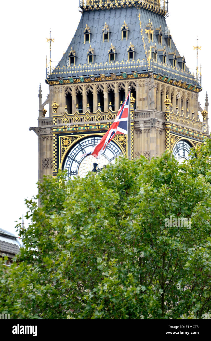 London, England, UK. Big Ben and a union jack seen from Whitehall - Stock Image