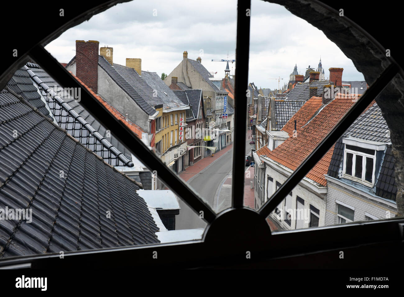 View from the window of the chapel, or 'Upper Room' in Talbot House, Poperinge, Belgium - Stock Image