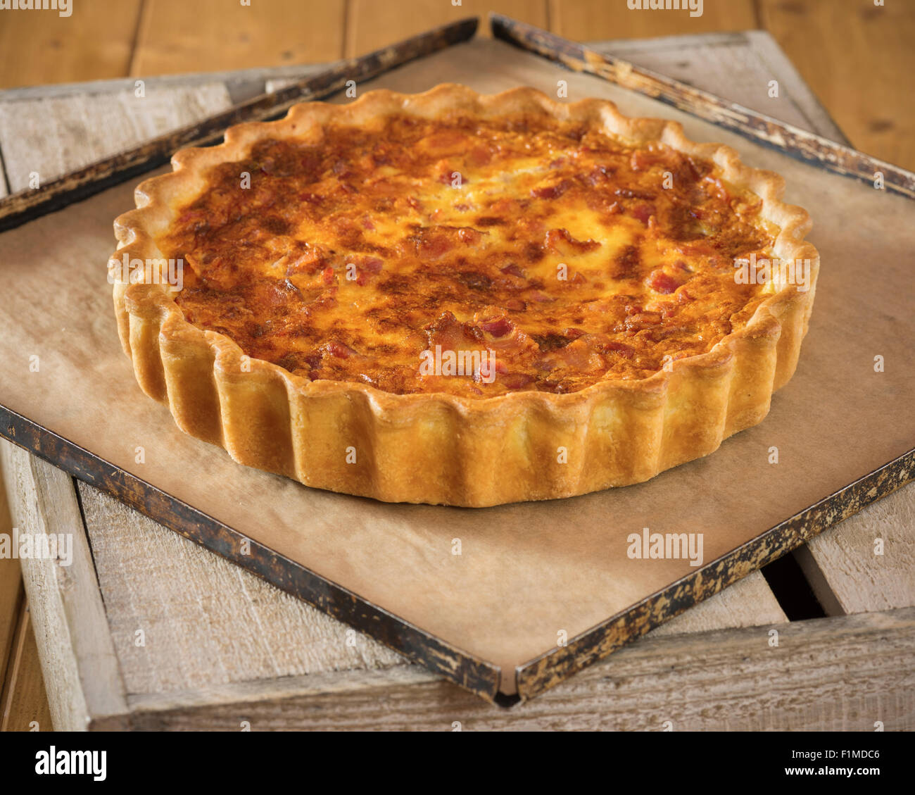 Quiche lorraine. French egg and bacon tart. France Food - Stock Image