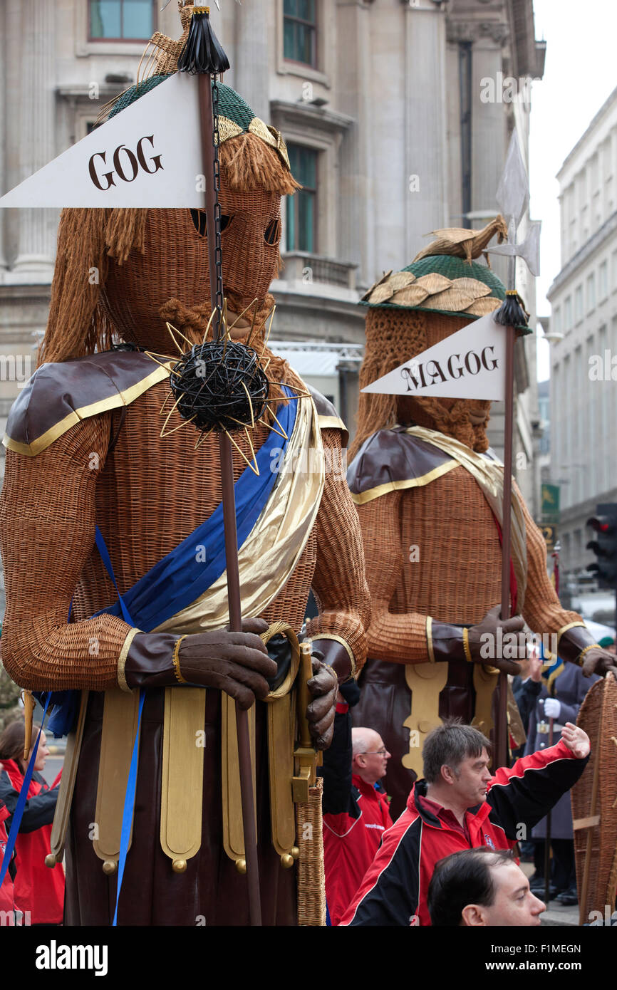 Gog and Magog, the traditional guardians of the City of London, Mansion House, City of London, England, UK - Stock Image