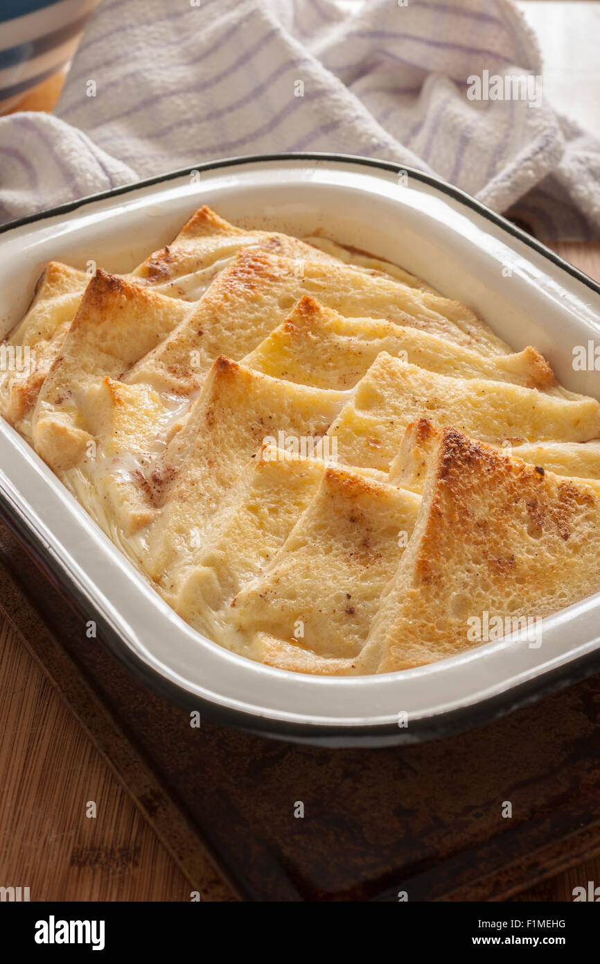 Bread and Butter Pudding a traditional British dessert made with bread eggs and milk - Stock Image