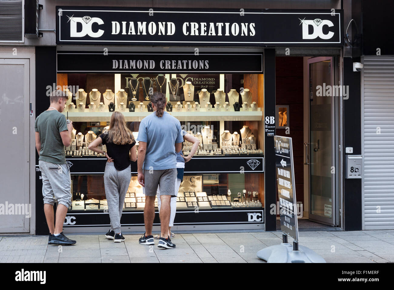 stock in shop people antwerp belgium front of jewelry diamond photo