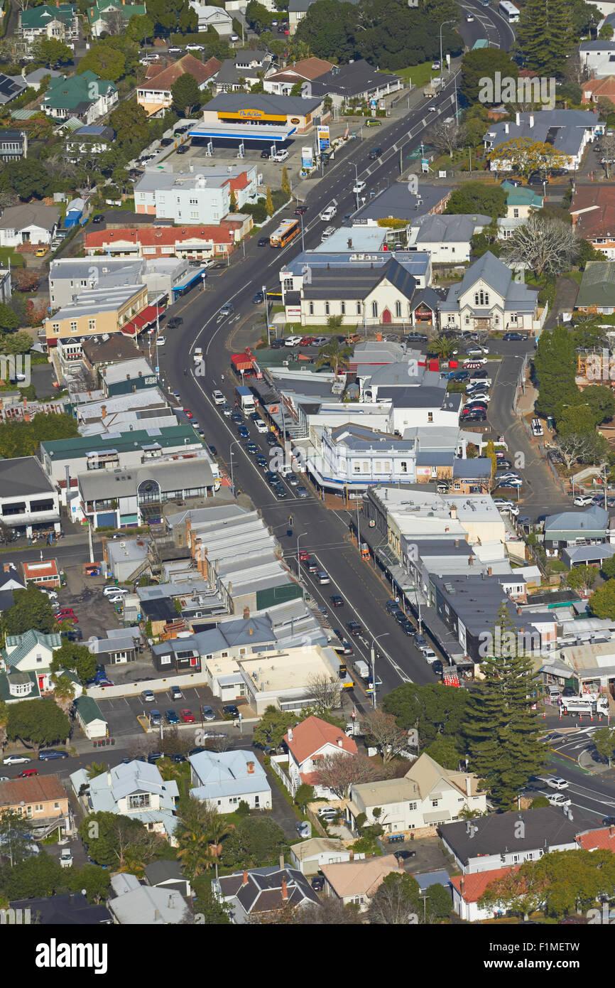 Mt Eden Village, Auckland, North Island, New Zealand - aerial - Stock Image