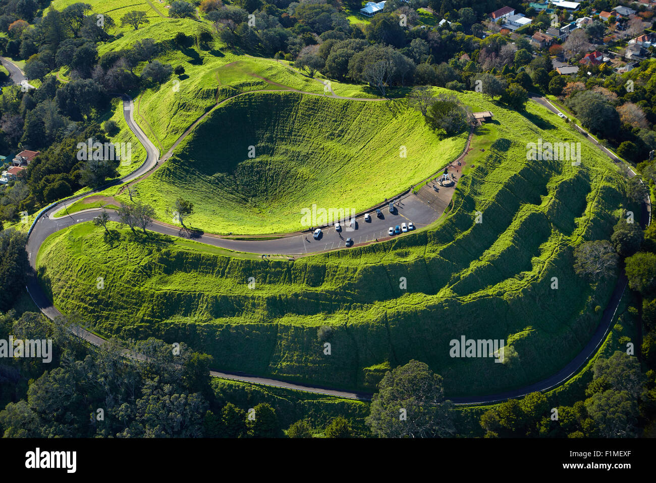 Volcanic crater, Mt Eden, ( historic Maori pa site ), Auckland, North Island, New Zealand - aerial - Stock Image