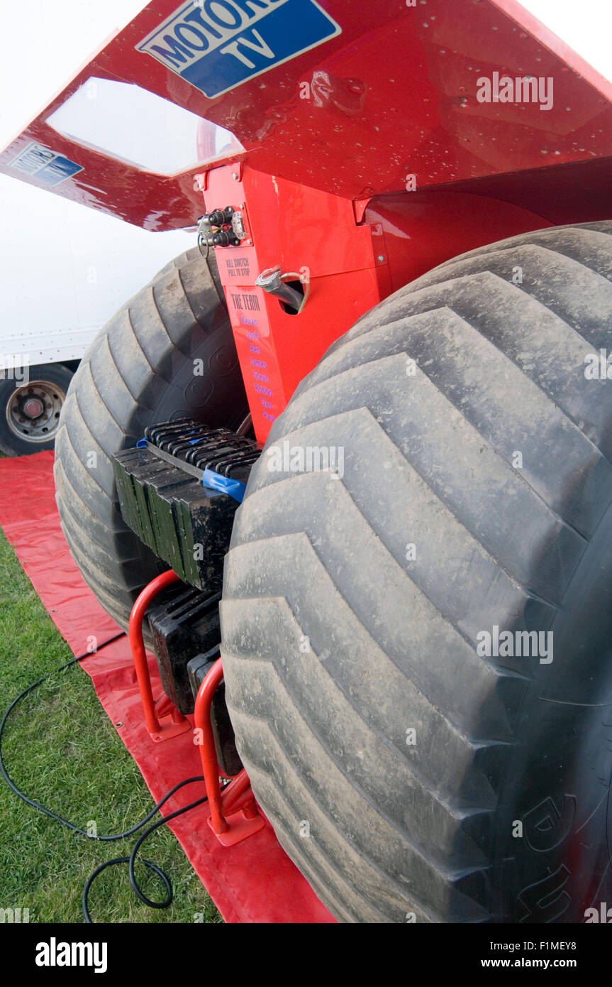 shaved down tires on a tractor puller - Stock Image