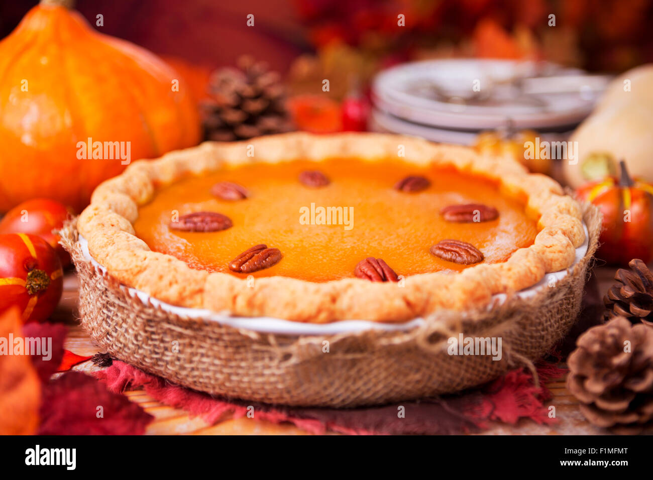A delicious homemade pumpkin pie on a rustic table with autumn decorations. - Stock Image