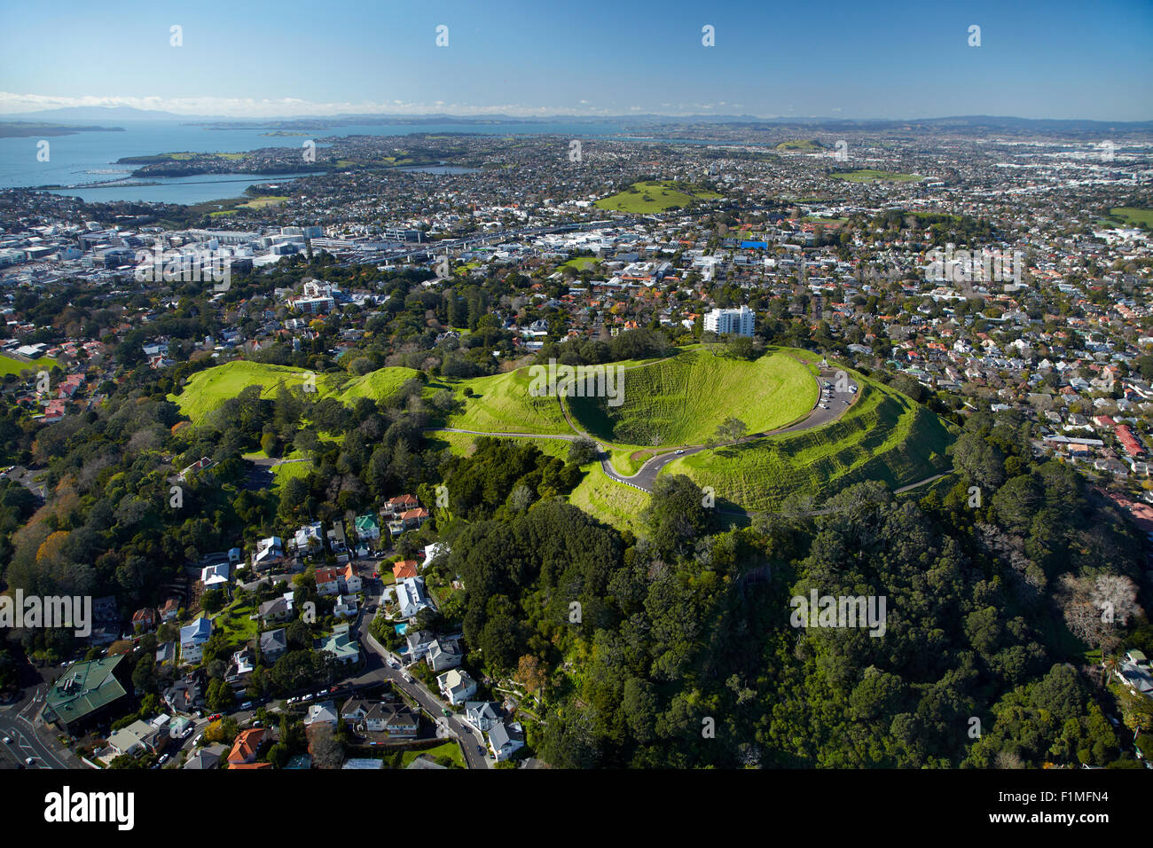 Volcanic crater, Mt Eden Domain, ( historic Maori pa site ), Auckland, North Island, New Zealand - aerial - Stock Image