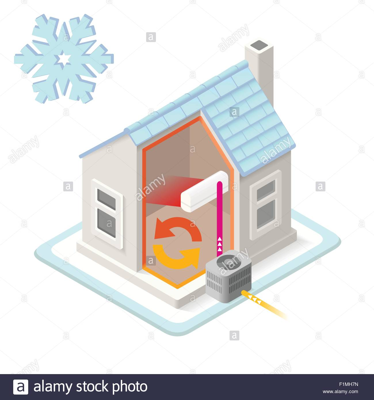 Heat Pump House Heating System Infographic Icon Concept. Isometric 3d  Soften Colors Elements. Air Conditioner Heat Providing Cha