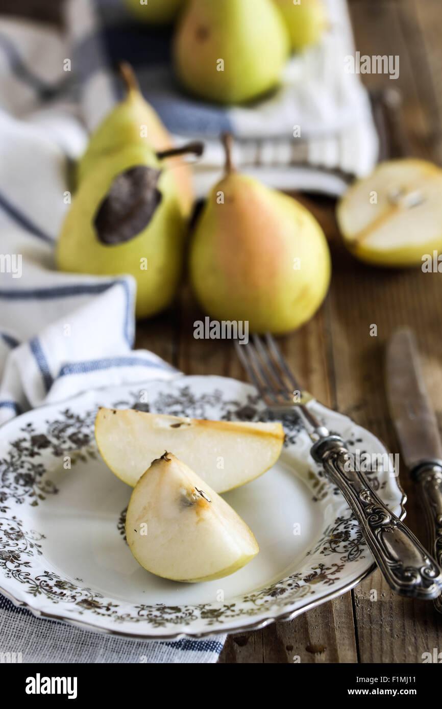 Slices of italian pears - Stock Image
