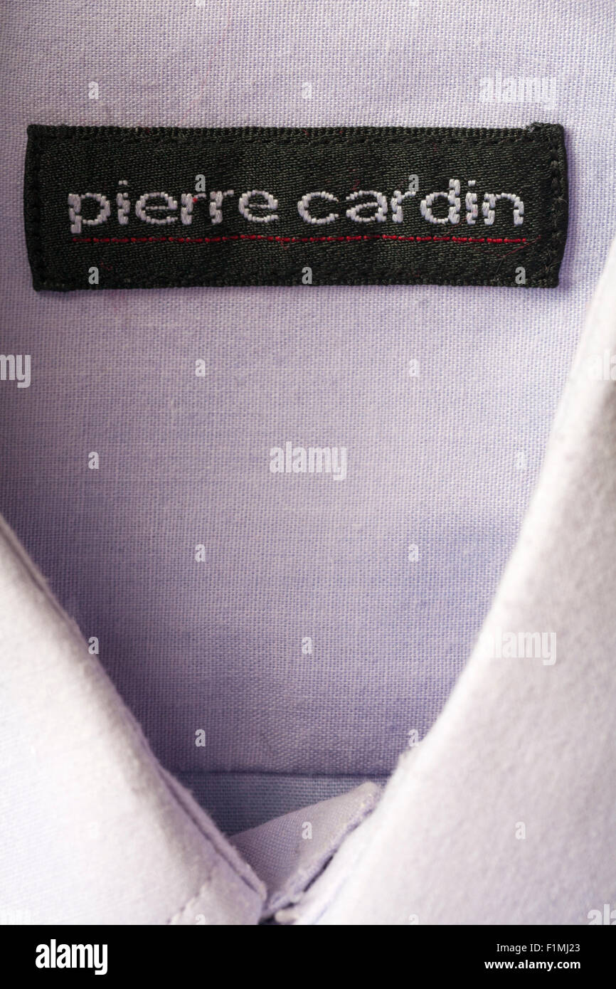 pierre cardin label in mans shirt - Stock Image