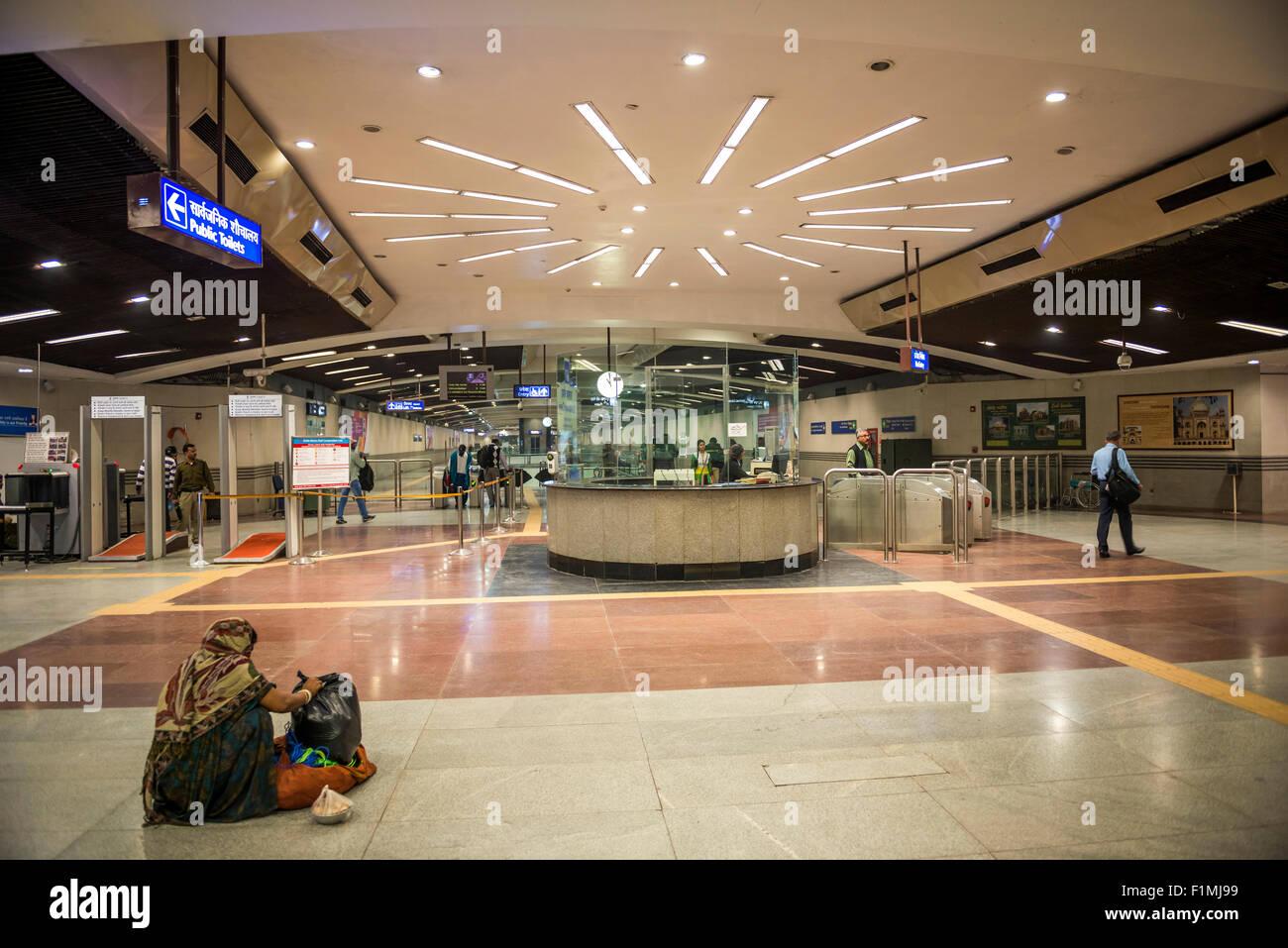 One of Delhi's new Metro Rail Stations in New Delhi, India - Stock Image