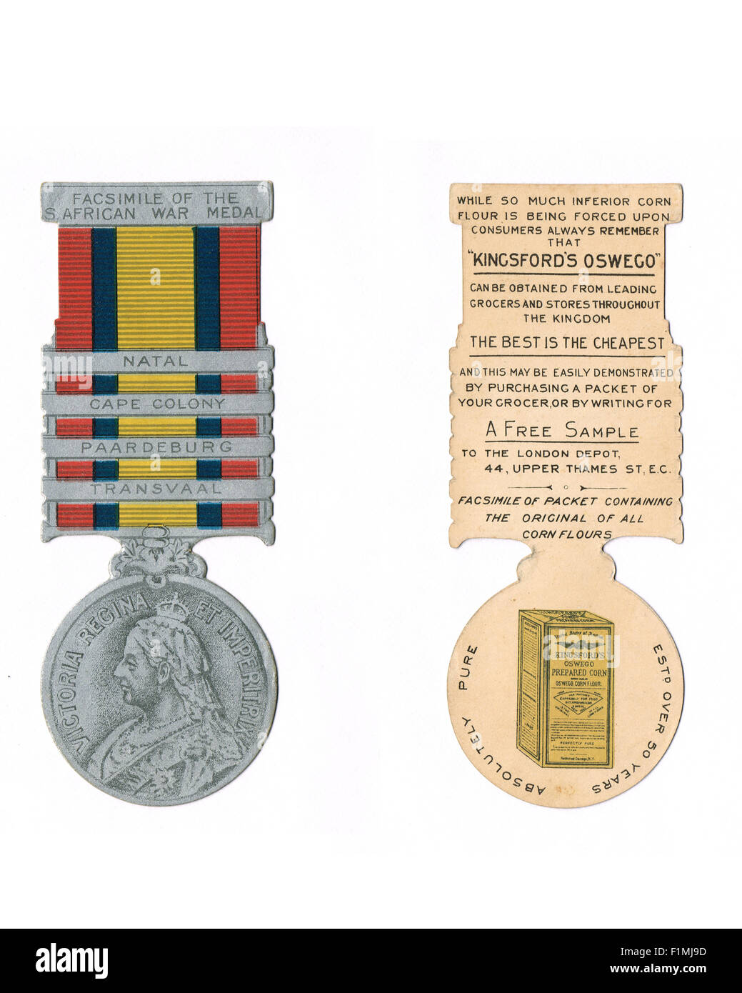 Novelty Kingsford's Oswego Advert South African War Medal circa 1900 - Stock Image