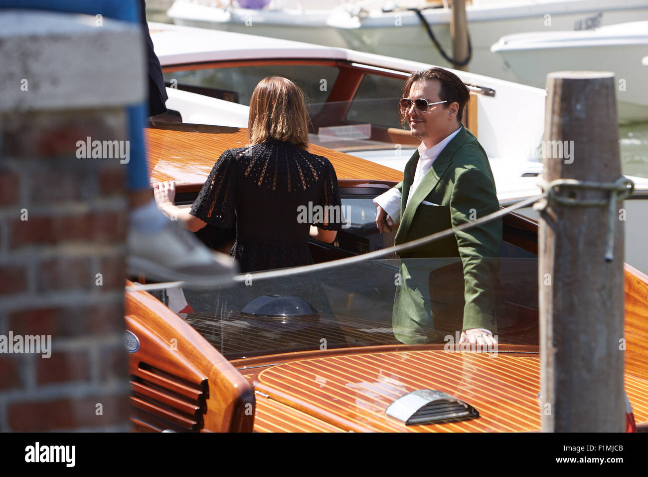VENICE, ITALY, 4th Sep, 2015. Actor Johnny Depp arrives at 72nd Venice Film Festival for  'Black Mass' press - Stock Image