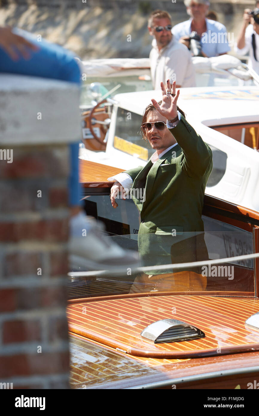 VENICE, ITALY, 4th Sep, 2015. Actor Johnny Depp arrives at 72nd Venice Film Festival for  'Black Mass' press conference Stock Photo