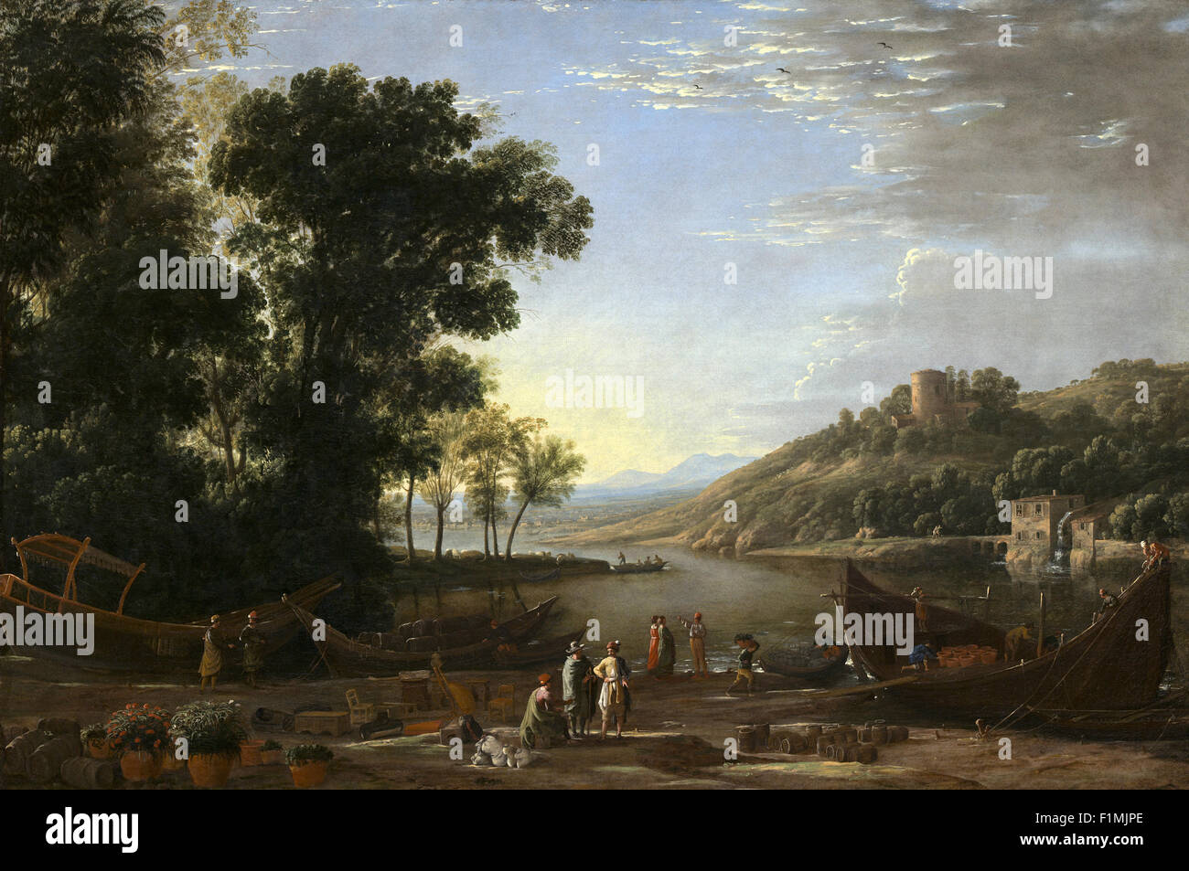 Claude Lorrain (Claude Gellée) - Landscape with Merchants - Stock Image