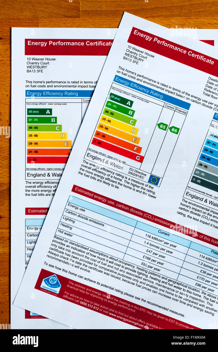 Pair of Energy Performance Certificates introduced in 2007 - part of Home Information Pack or HIPs produced when Stock Photo