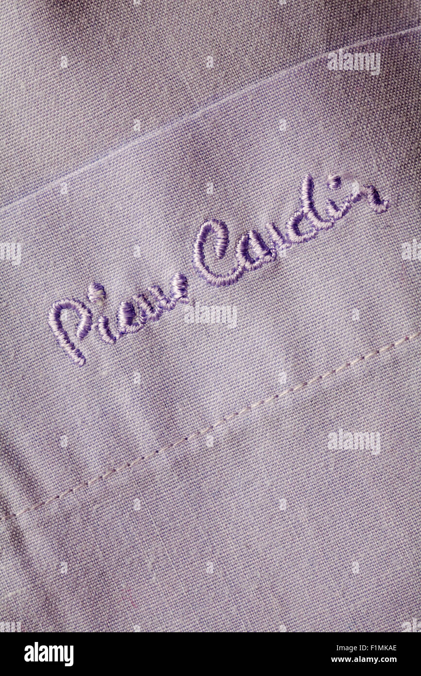pierre cardin sewn on mans shirt pocket - Stock Image