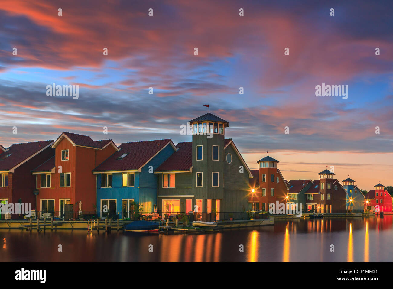 Colourful houses at Reitdiephaven, Groningen, Netherlands - Stock Image