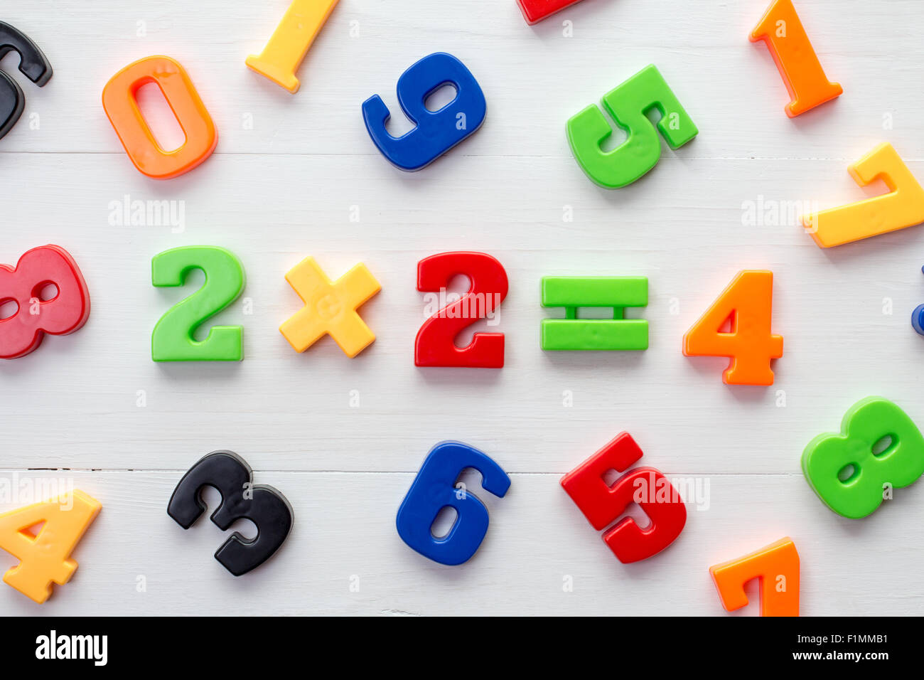 math example with numbers magnets on a white wood background stock