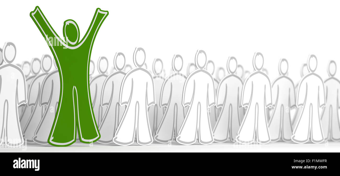Many white character with arms down and one green person with his arms raised. Conceptual illustration symbol of - Stock Image