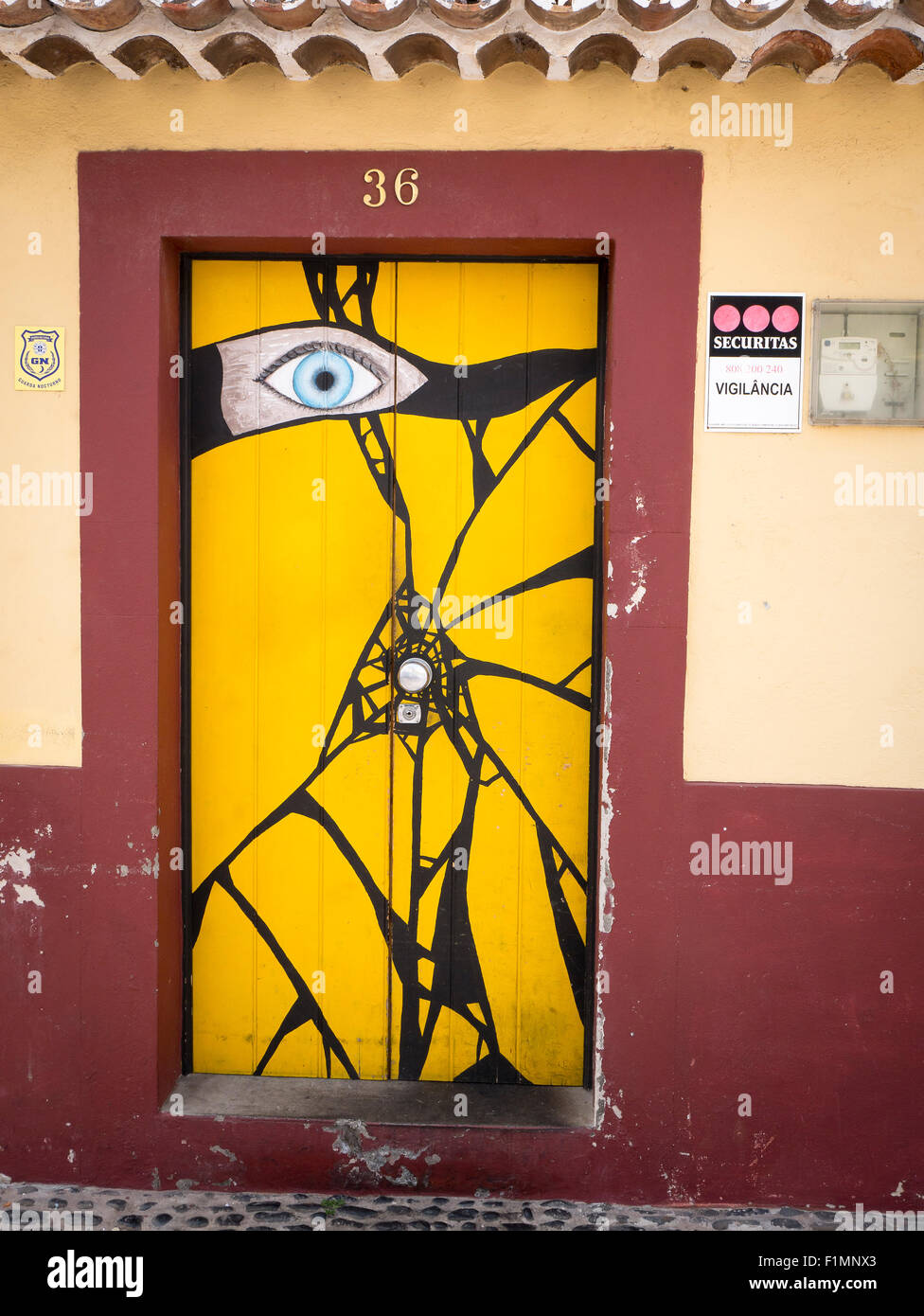 The Painted Doors of Funchal Old Town Madeira Portugal. Art of open doors project in Rua de Santa Maria of Funchal & The Painted Doors of Funchal Old Town Madeira Portugal. Art of ...