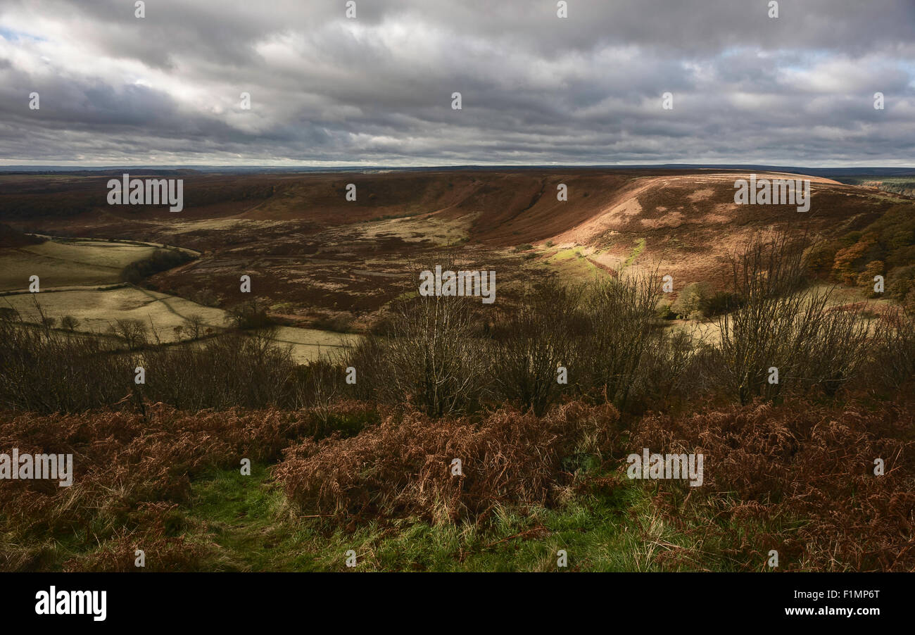 Hole of Horcum, a natural depression, on a fine autumn morning flanked by heather and other flora near Goathland, Stock Photo