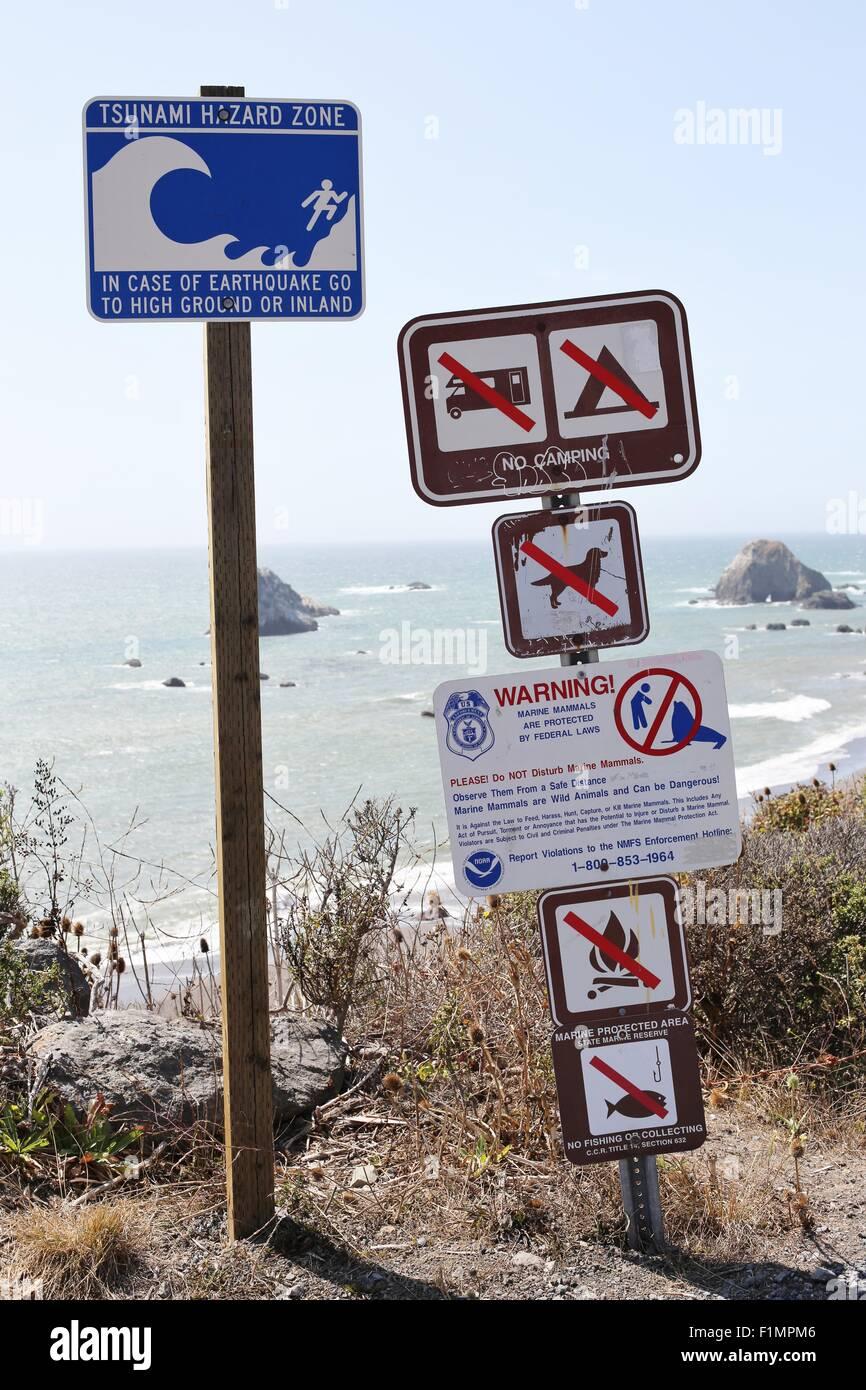 Tsunami Warning Signs Stock Photos & Tsunami Warning Signs
