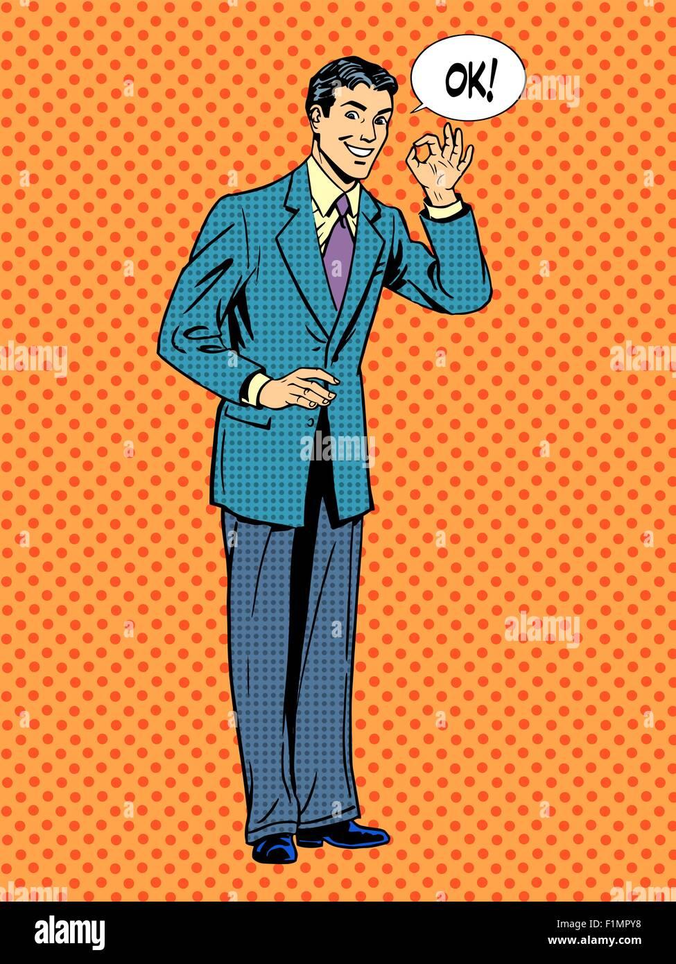 Man businessman says okay business success concept - Stock Vector