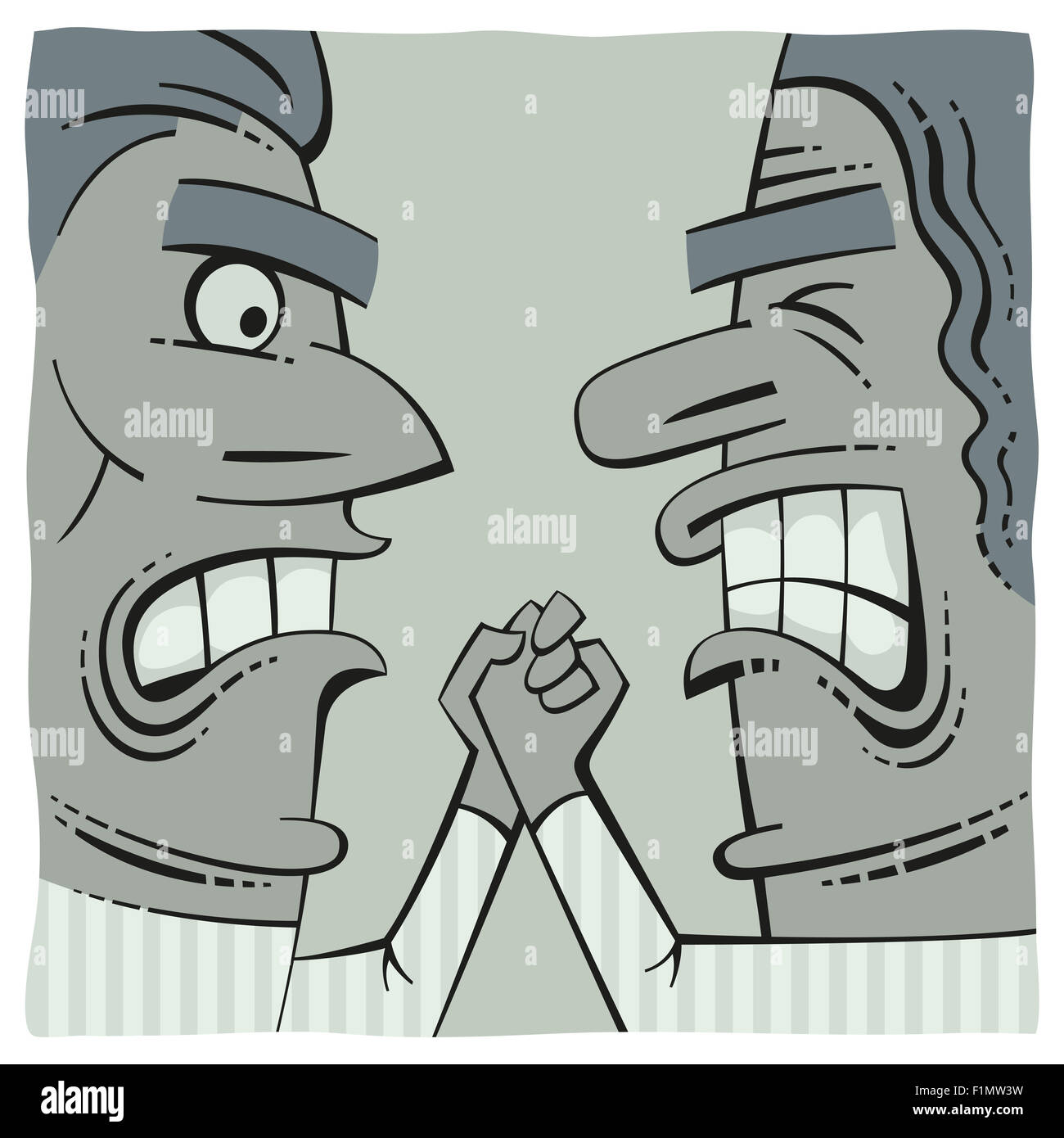 Hand fight of two angry men - Stock Image