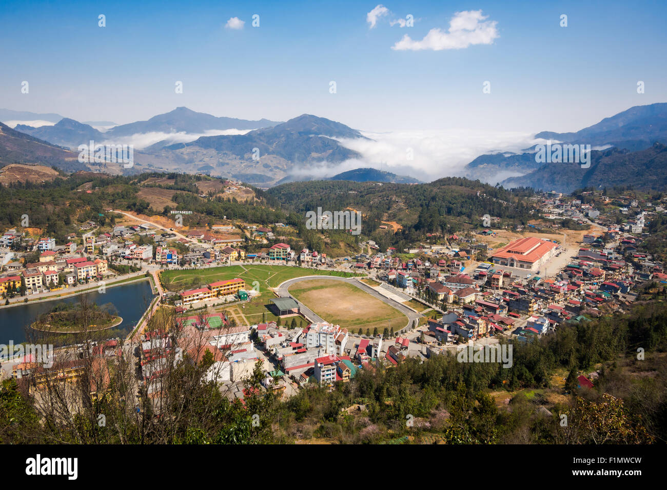 General view of Sapa Town, Lao Cai Province, North Vietnam. - Stock Image