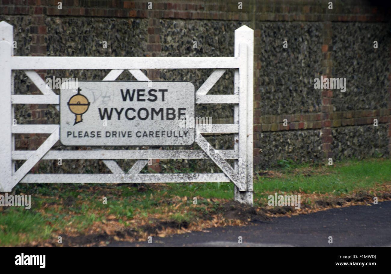 West Wycombe, Buckinghamshire, Town Sign, United Kingdom Britain Europe - Stock Image