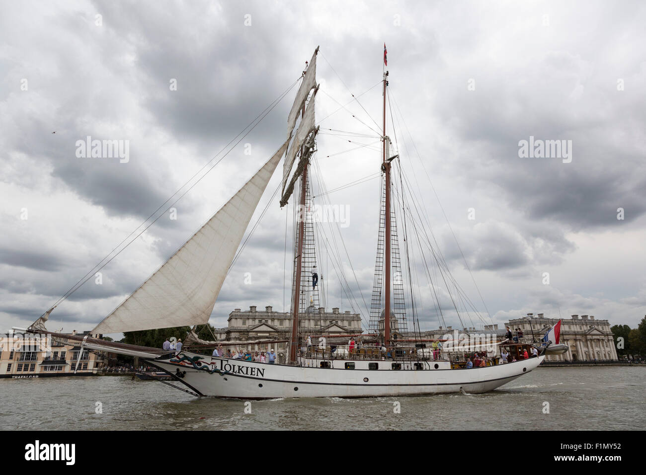 Royal Greenwich Tall Ships Festival 2015 on the River Thames with tall ship J.R. Tolkien (NL), sailing in front - Stock Image
