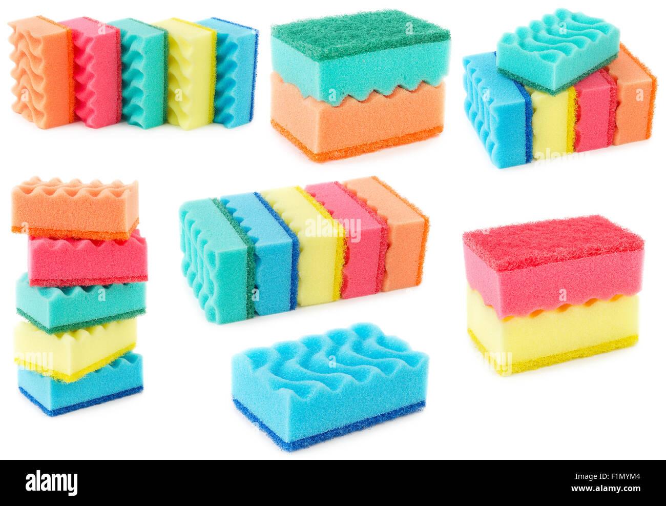 Set of colored sponges for dishwashing isolated on white background. Kitchen bast. - Stock Image
