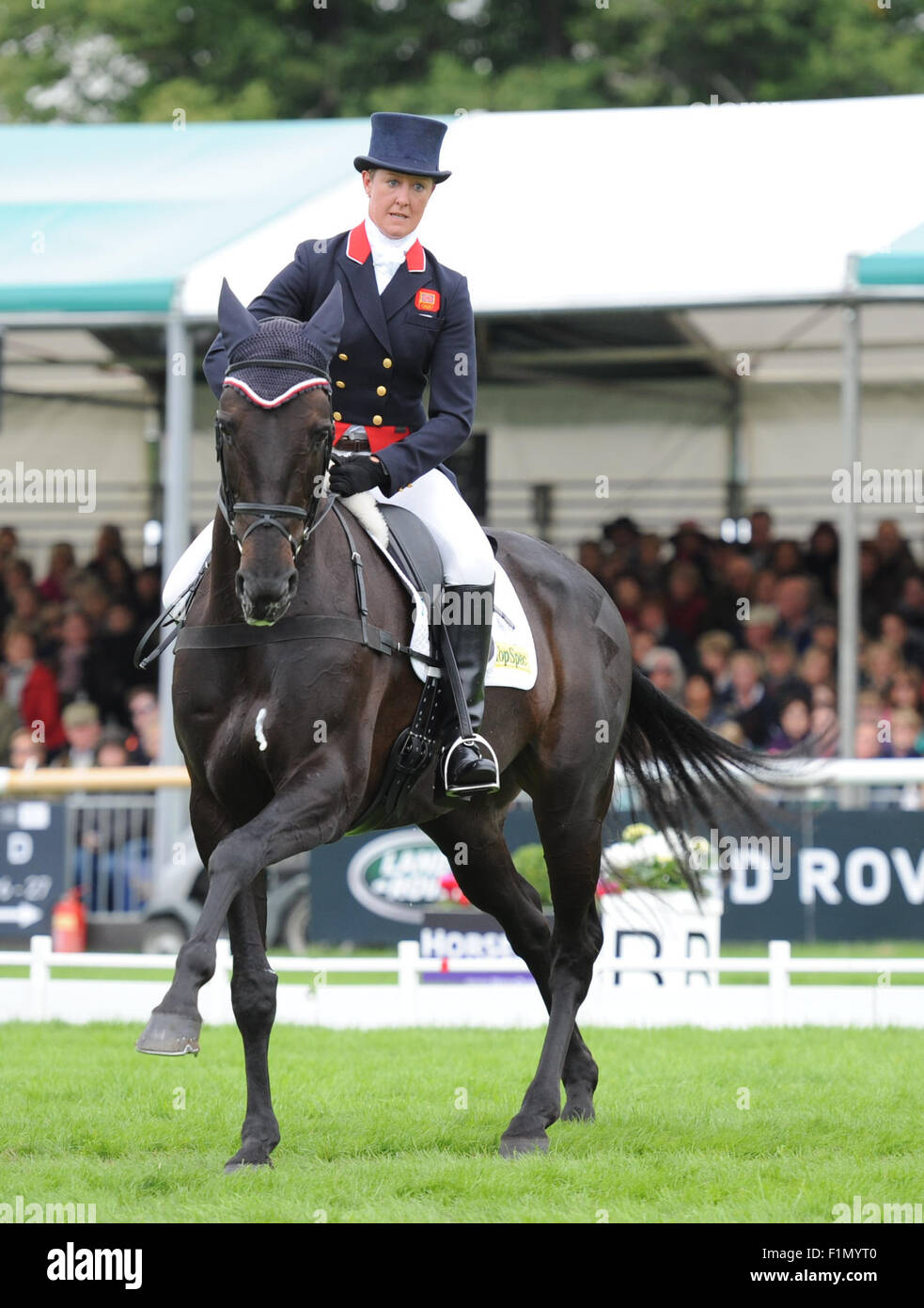 Stamford, UK. 4th September, 2015. Land Rover Burghley Horse Trials 2015, Stamford England. Nicola Wilson (GBR) Stock Photo