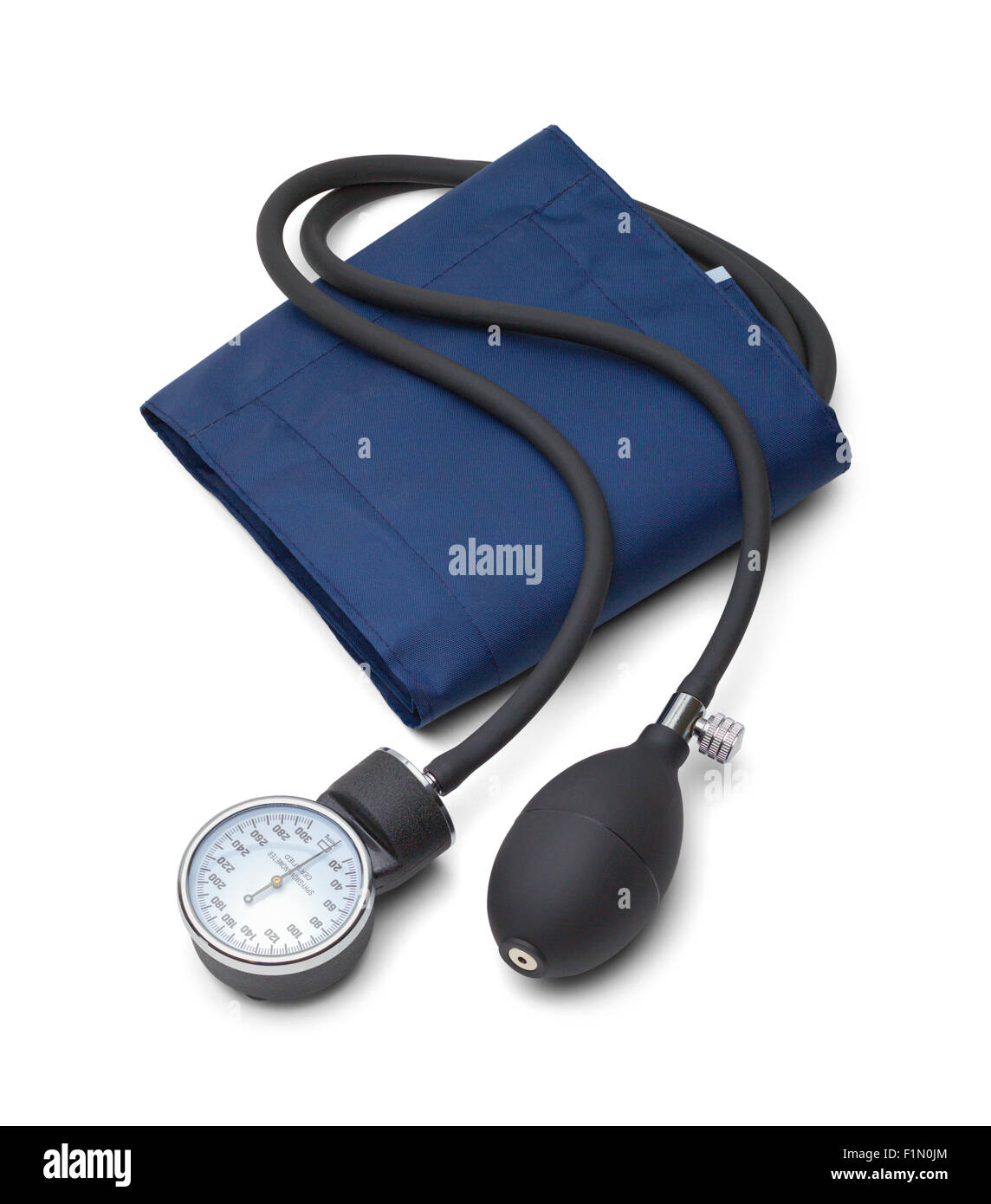 Blue Blood Pressure Gauge Isolated on White Background. - Stock Image